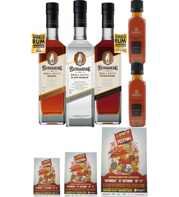 Bundaberg Rum Small Batch Set, Silver, Small Batch,Vintage Barrel New Release (Free Shipping)