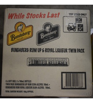 Bundaberg Rum Royal Liqueur And UP Twin Pack Rare Old Labels 6 pack